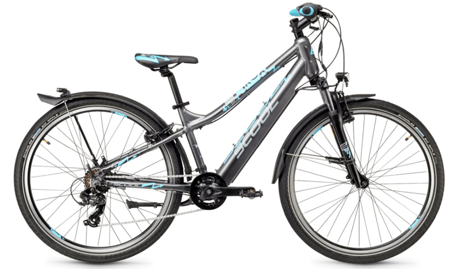 """kids electric bike S'cool e-troX 26"""" 7S Shimano Grey"""