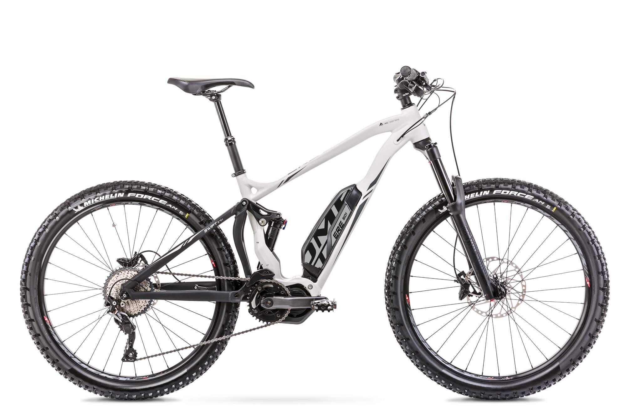 "Electric Mountain Bike Fully Mid Drive 27.5 Inch Romet ERE 501 16,5"" White"