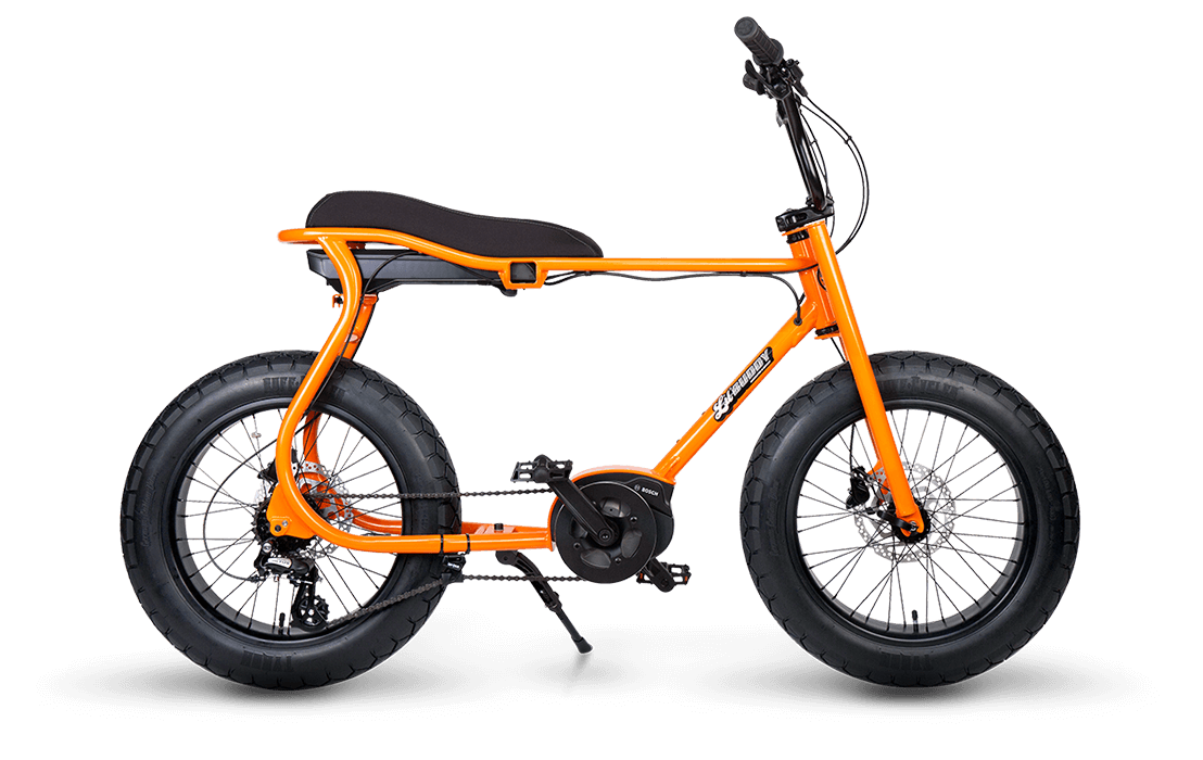 Ruff Cycles Retro Electric Fat Bike Bosch Mid Drive Lil'Buddy 500Wh Orange