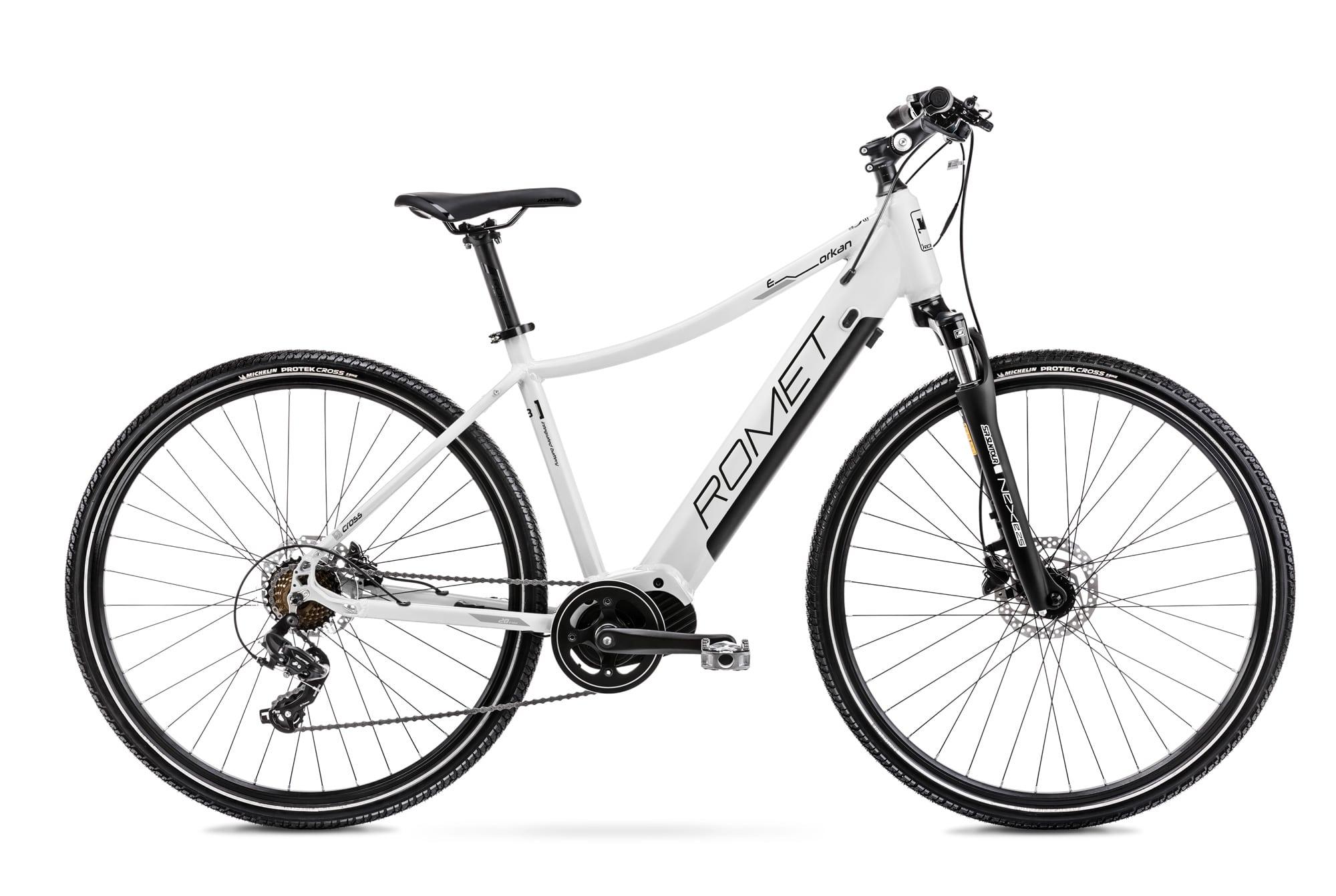 Mens Electric Hybrid Bike Mid Drive 28 Inch Romet Orkan 1D 20Inch White