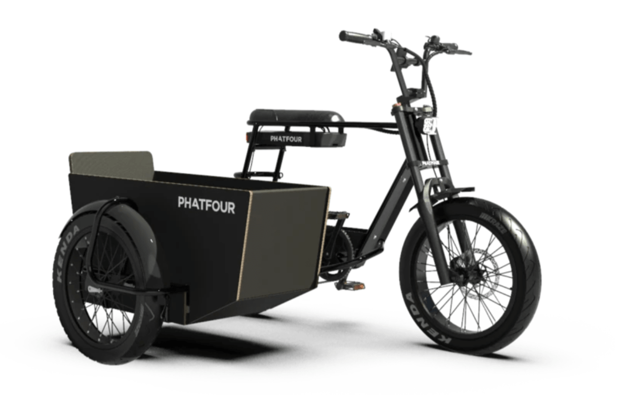 Electric Fat Bike with removable Sidecar Phatfour 630Wh FLB+ Black