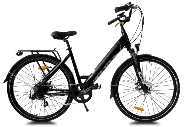 Ladies electric bike with suspension UrbanBiker Sidney 26 inch Black