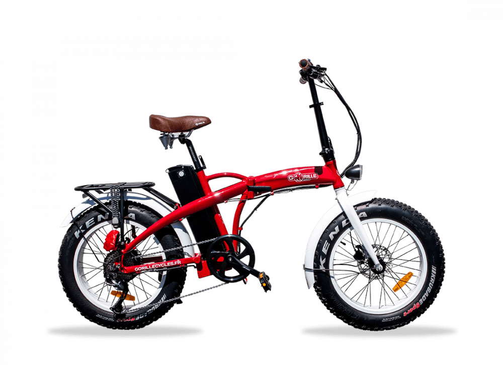 """Electric Folding Fat Bike Gorille Baby 20"""" 410Wh Red 25km/hr"""