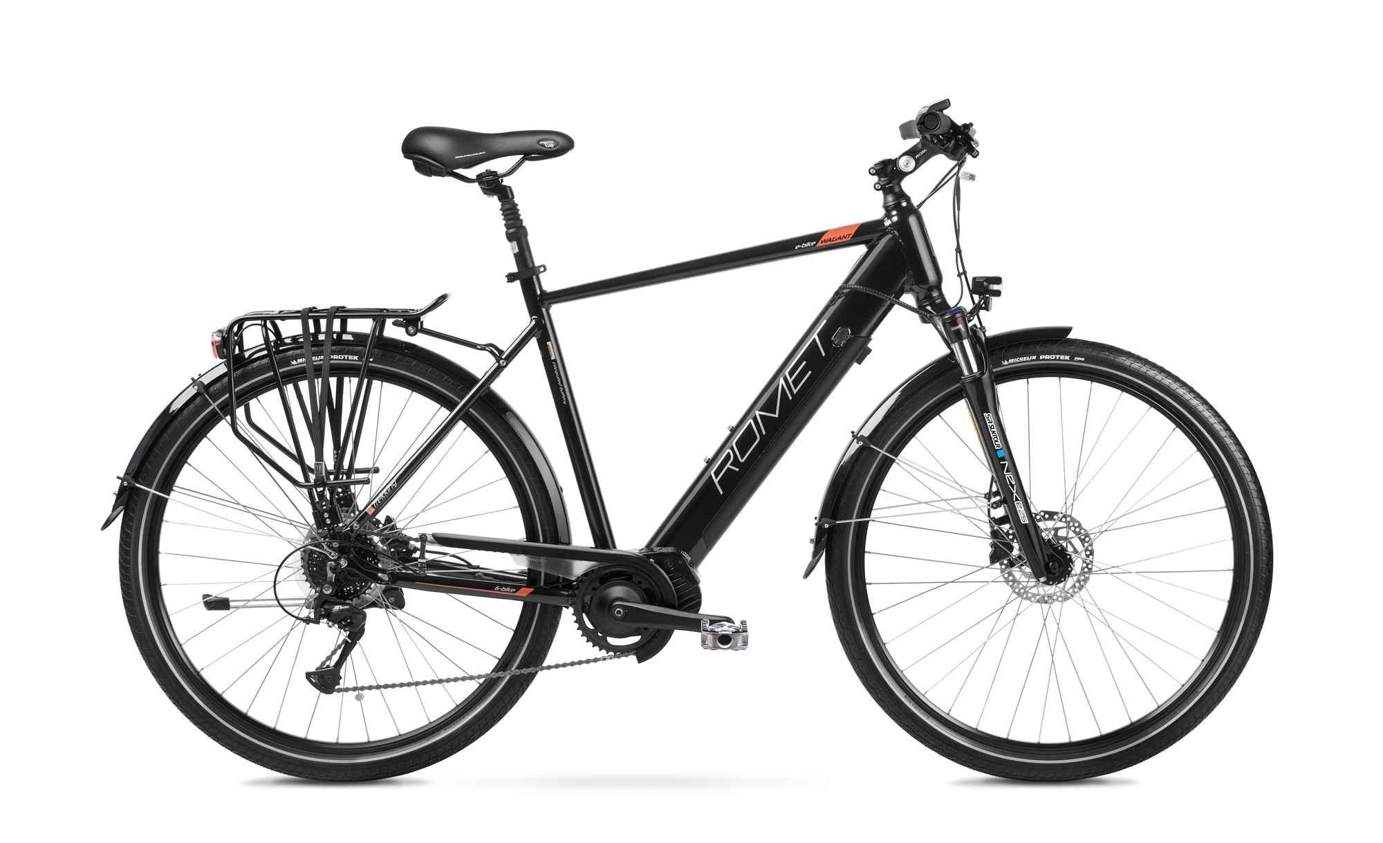 "Mens Electric Hybrid Bike Mid Drive 28 Inch Romet Wagant 1MM Black 19"""