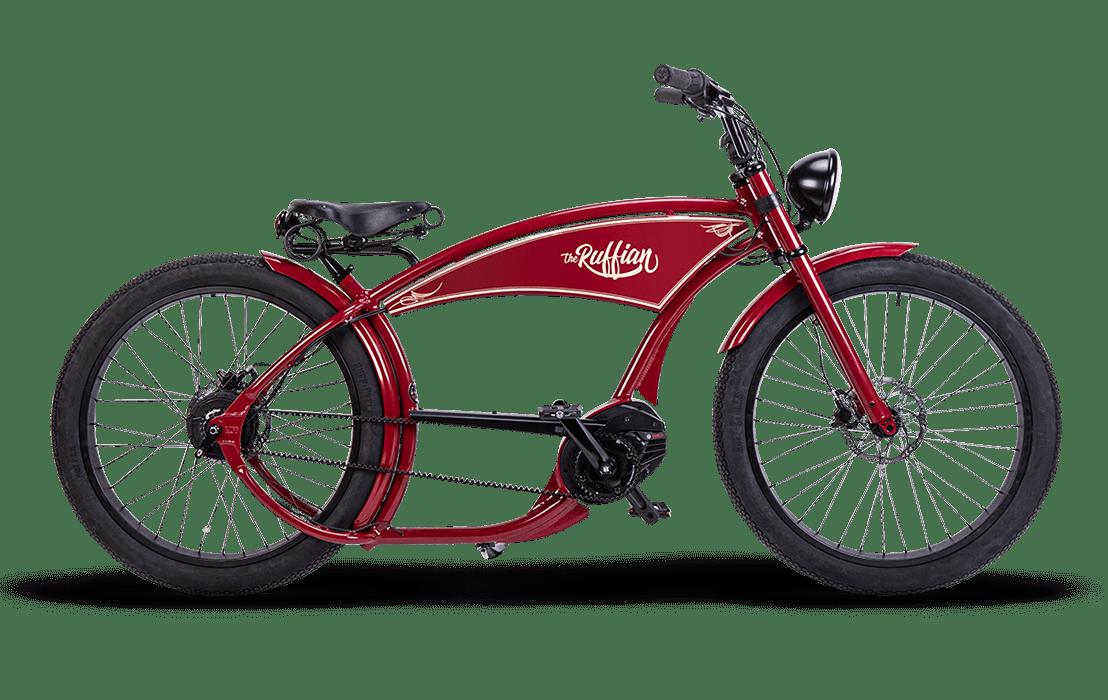 Ruff Cycles Ruffian Electric Chopper Bike Bosch Mid Drive 500Wh Red