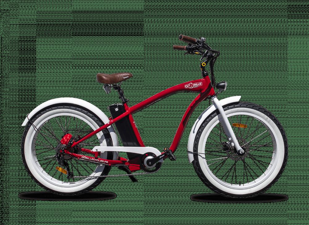 Electric Fat Bike Beach Cruiser Gorille 410Wh Red
