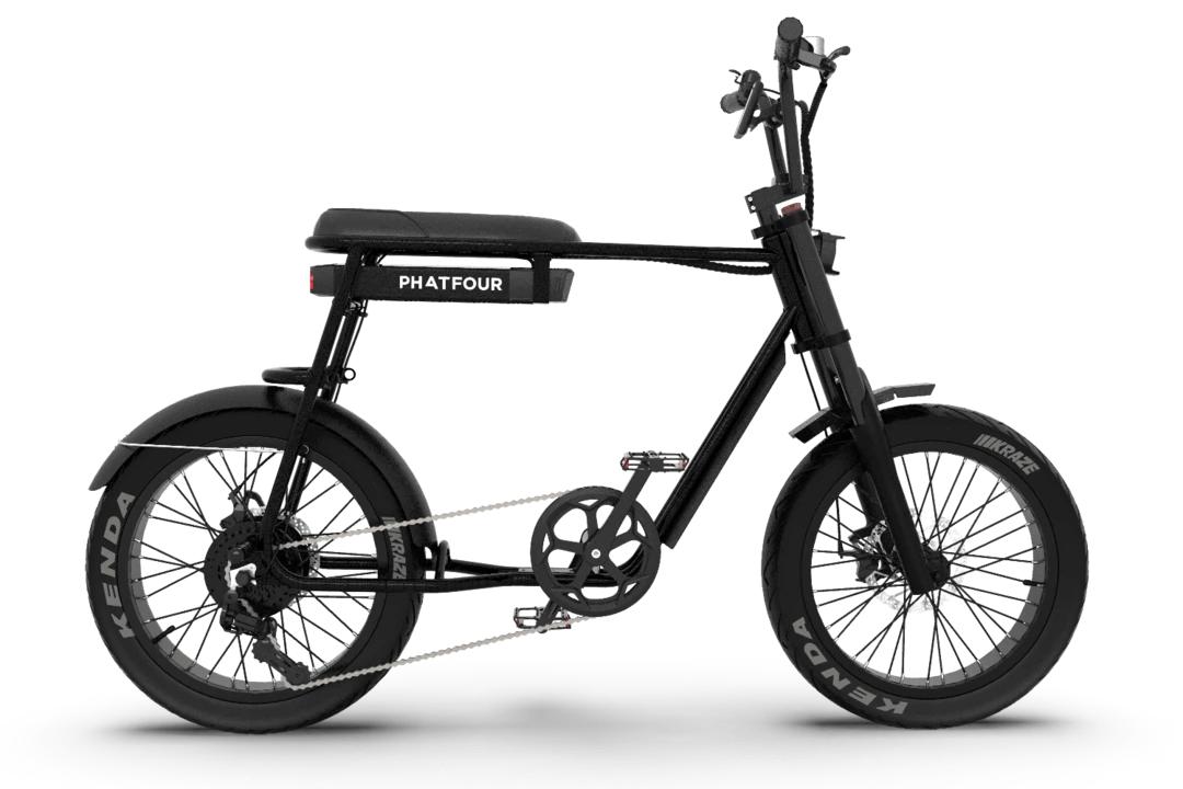 Retro Electric Fat Bike Vintage 70s PHATFOUR FLB+ Black 630Wh Single seat