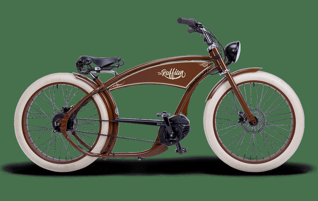 Ruff Cycles Ruffian Electric Chopper Bike Bosch Mid Drive 300Wh Brown