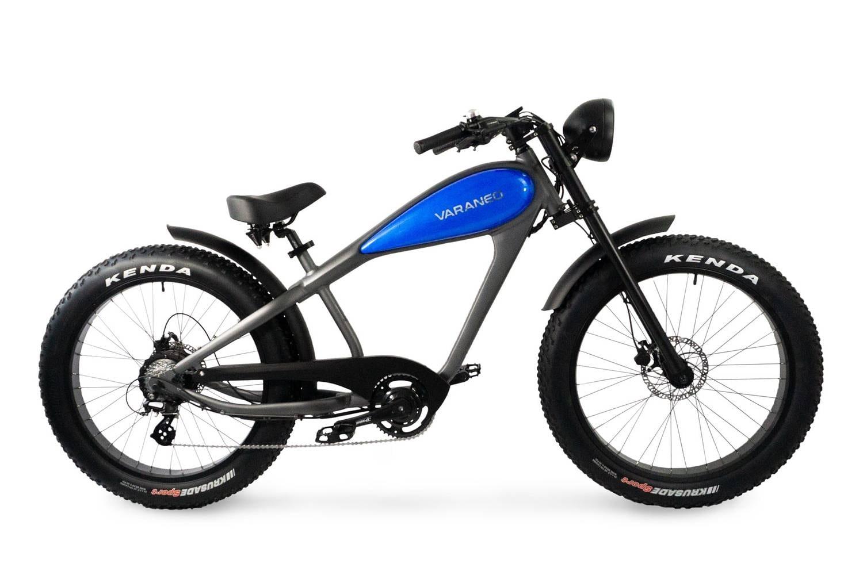 Electric Chopper Bike Fat Bike Varaneo Cafe Racer Blue