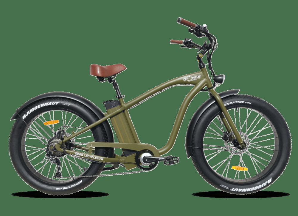 Electric Fat Bike Beach Cruiser Gorille 410Wh Green