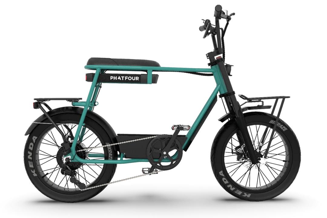 Retro Electric Fat Bike Vintage 70s PHATFOUR FLB+ Green 470Wh Single seat