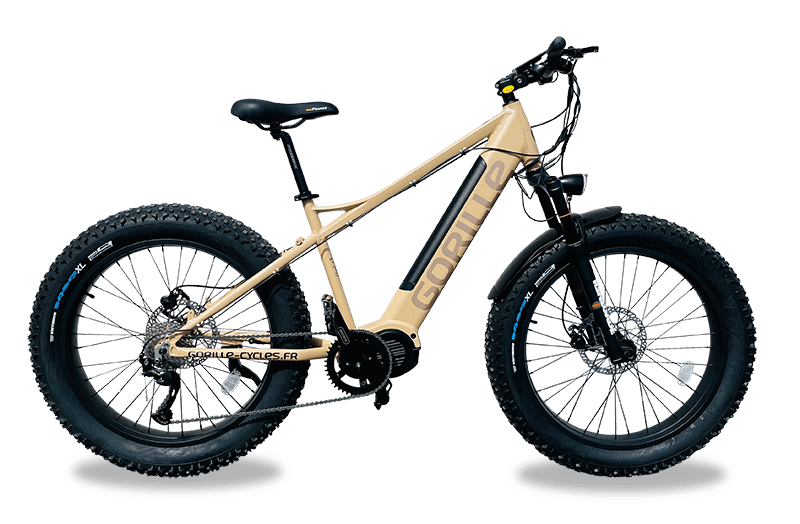 Electric mountainbike fat tyres Mid Drive 25km/hr Gorille Athlete Gold