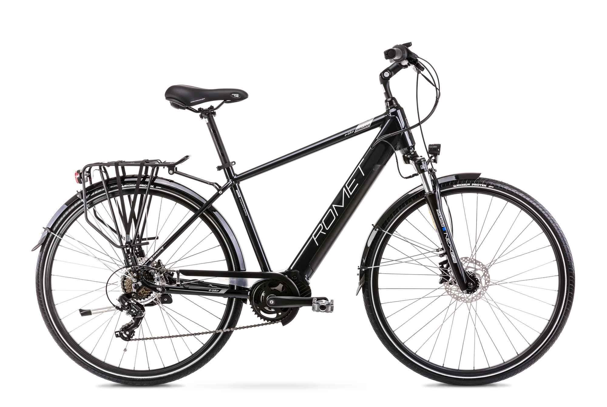 "Mens Electric Hybrid Bike Mid Drive 28 Inch Romet Wagant 1MM Black 21"""