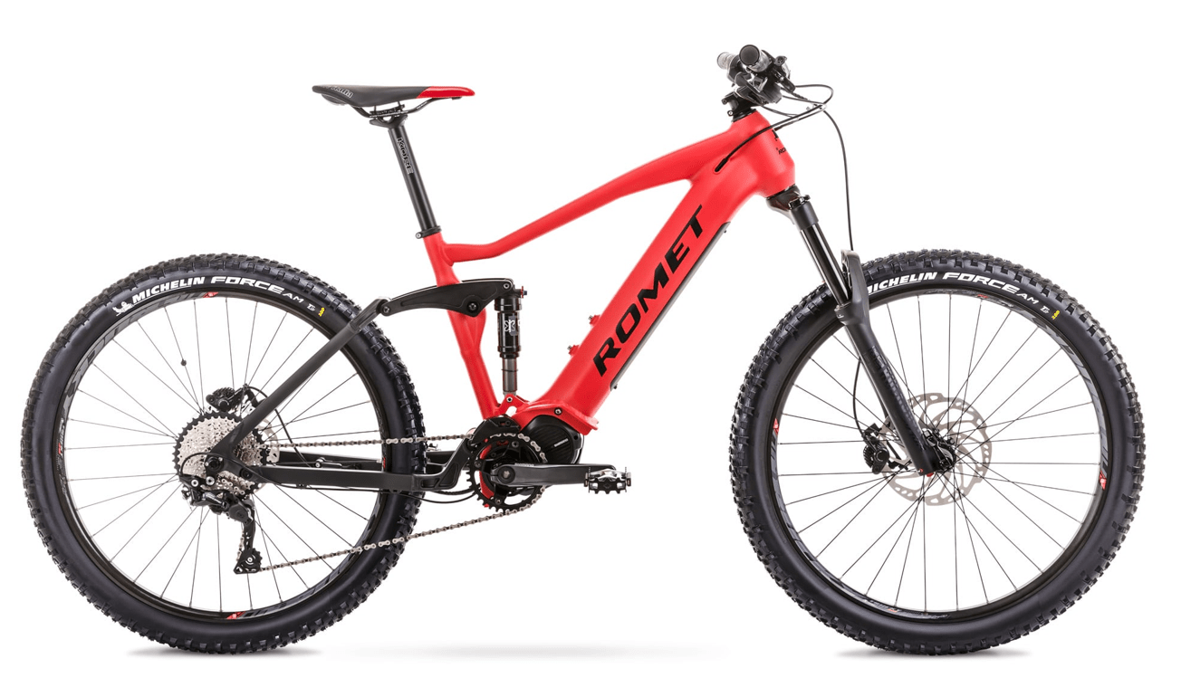 """Electric Mountain Bike Fully Mid Drive 27.5 Inch Romet ERE 505 17"""" Red"""