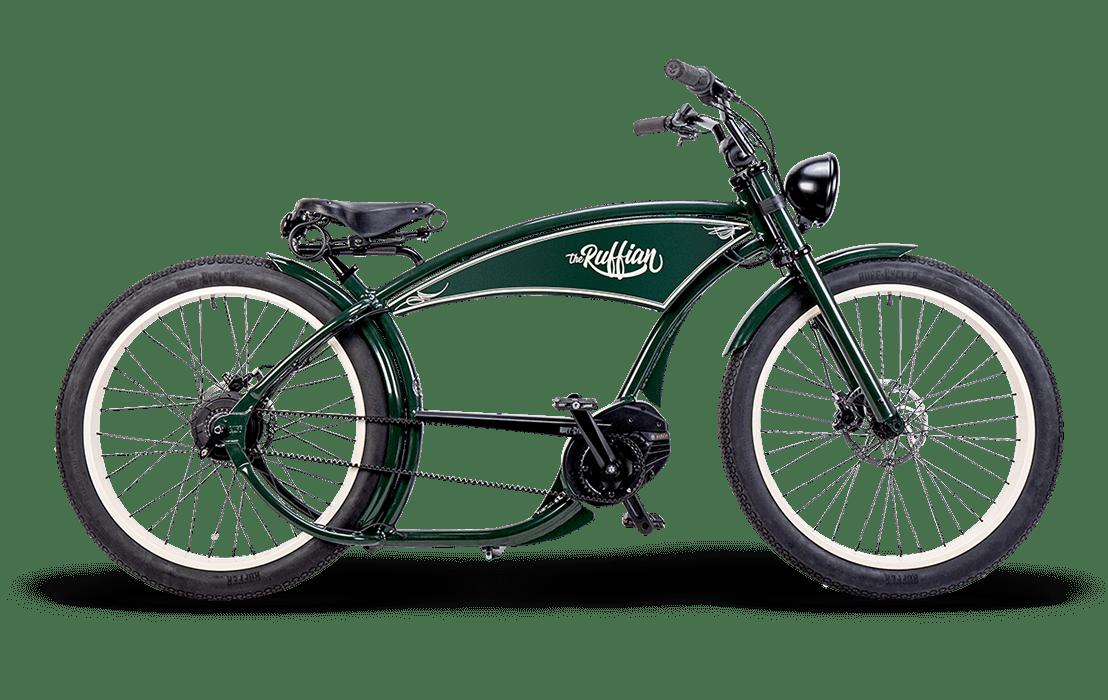 Ruff Cycles Ruffian Electric Chopper Bike Bosch Mid Drive 300Wh Green