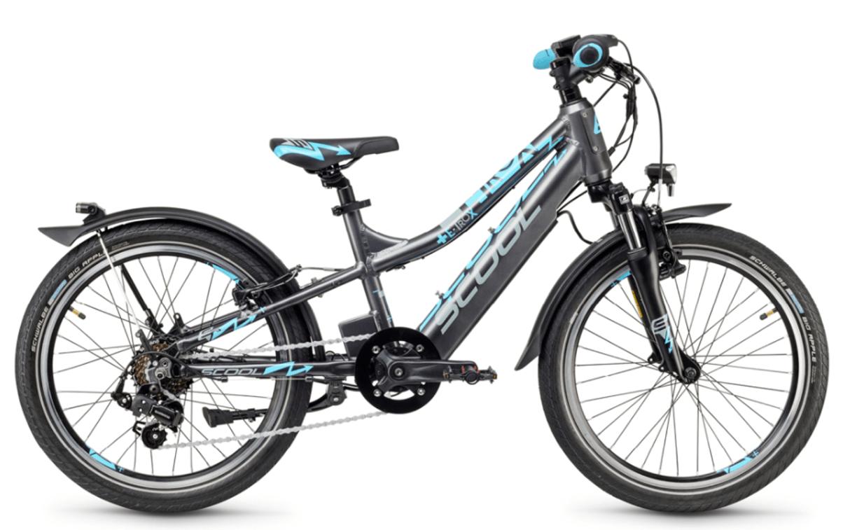 """Kids Electric Bike S'cool e-troX 20"""" 7S Shimano Grey"""