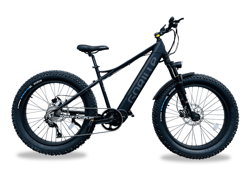 Electric mountainbike fat tyres Mid Drive 25km/hr Gorille Athlete Black