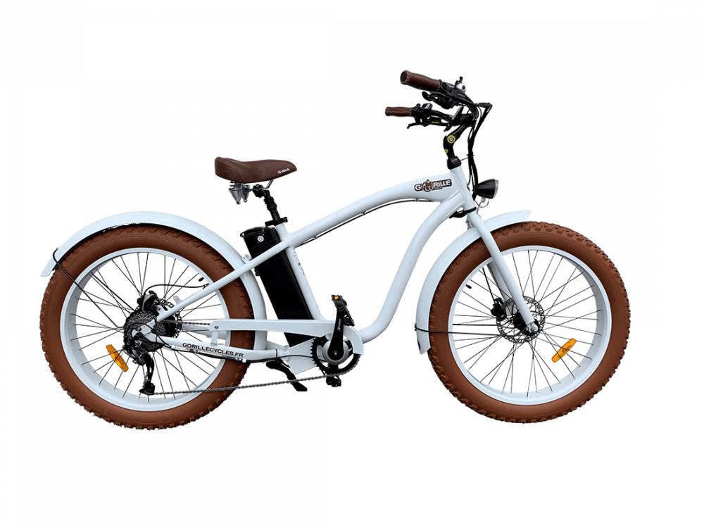 Electric Fat Bike Beach Cruiser Gorille 45km/hr 1000Wh White